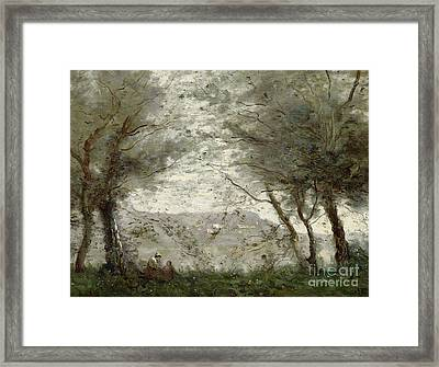 The Pond Framed Print by Jean Baptiste Corot