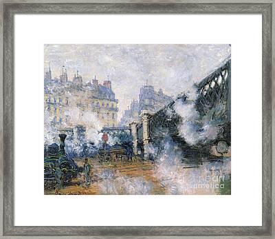 The Pont De Leurope Gare Saint Lazare Framed Print by Claude Monet