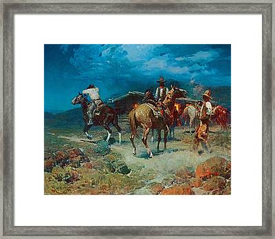 The Pony Express Framed Print by Frank Tenney Johnson