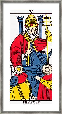 The Pope Tarot Card Framed Print by French School