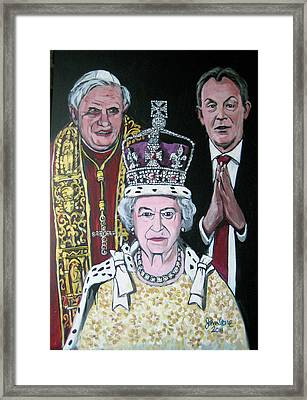 The Pope The Queen And The Politician Framed Print by Ray Johnstone
