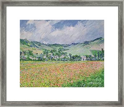 The Poppy Field Near Giverny Framed Print by Claude Monet