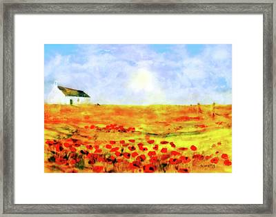 Framed Print featuring the painting The Poppy Picker by Valerie Anne Kelly