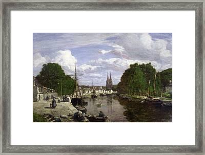 The Port At Quimper Framed Print by Eugene Louis Boudin