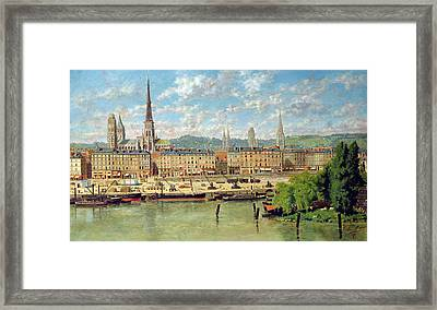 The Port At Rouen Framed Print by Torello Ancillotti