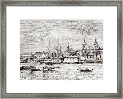 The Port Of Manaus, Amazonas State Framed Print by Vintage Design Pics
