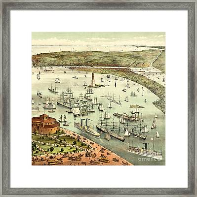 The Port Of New York, Birds Eye View From The Battery, Looking South, Circa 1892 Framed Print by Currier and Ives