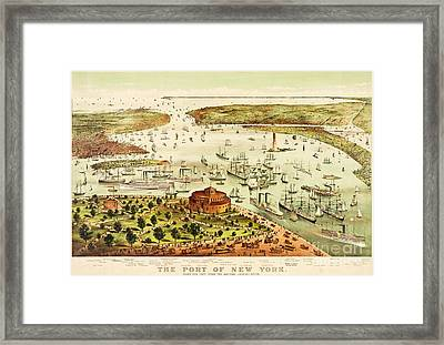 The Port Of New York Harbor Framed Print by Pg Reproductions