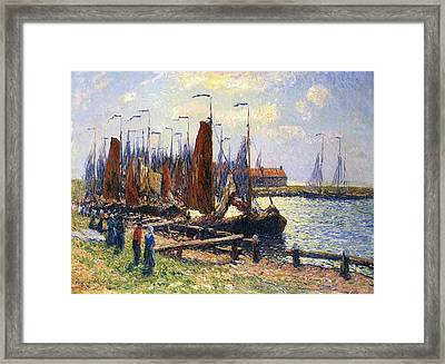 The Port Of Volendam Framed Print by Henry Moret
