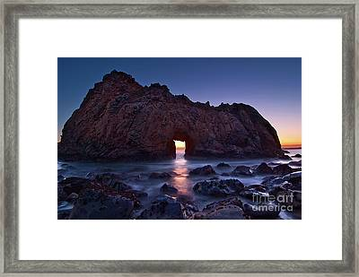 The Portal - Sunset On Arch Rock In Pfeiffer Beach Big Sur In California. Framed Print
