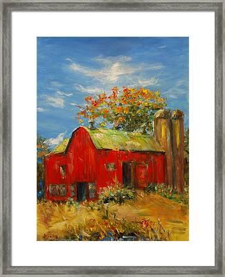 The Porter Barn In Red  Framed Print by Ann Bailey