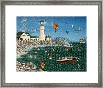 The Portland Lighthouse Off The Coast Of Maine  Framed Print by Joshua Mac Allistar
