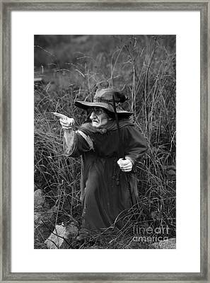 The Positive Curse Of European Ugly Good Witch Bw Framed Print