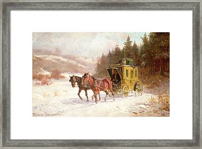 The Post Coach In The Snow Framed Print by Fritz van der Venne