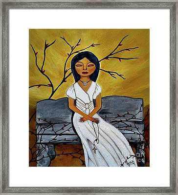 The Power Of The Rosary Religious Art By Saribelle Framed Print by Saribelle Rodriguez