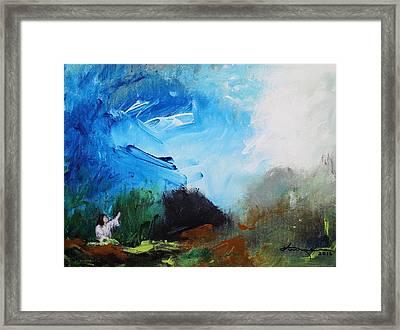 The Prayer In The Garden Framed Print by Kume Bryant