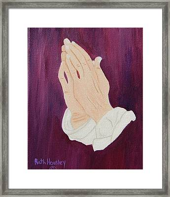 The Praying Hands Framed Print by Ruth  Housley