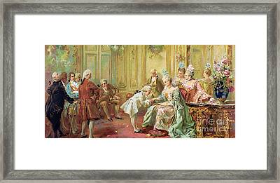 The Presentation Of The Young Mozart To Mme De Pompadour At Versailles Framed Print by Vicente de Parades