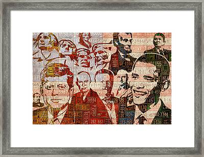 The Presidents Past Recycled Vintage License Plate Art Collage Framed Print by Design Turnpike