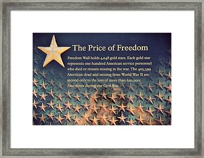 The Price Of Freedom Framed Print by Marianna Mills