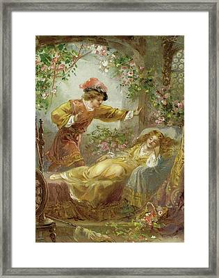 The Prince Finds The Sleeping Beauty Framed Print by English School