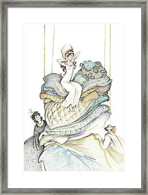 The Princess And The Pea, Illustration For Classic Fairy Tale Framed Print by Elena Abdulaeva