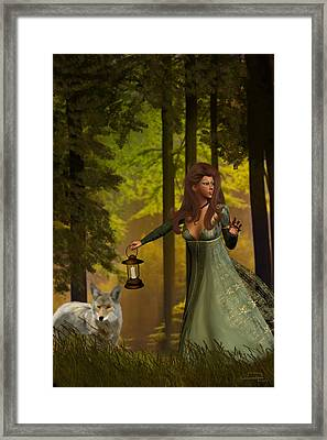 The Princess And The Wolf Framed Print by Emma Alvarez