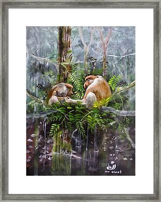 The Probosis Monkey Family Framed Print by Muyang Kumundan