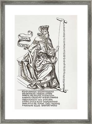 The Prophet Isaiah, Holding The Saw Framed Print by Vintage Design Pics