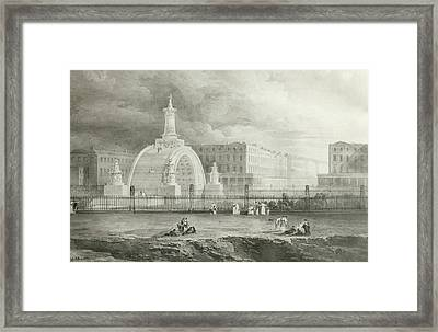 The Proposed Triumphal Arch From Portland Place To Regent's Park, 1820  Framed Print