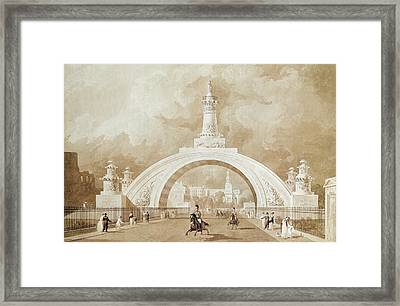 The Proposed Triumphal Arch From Portland Place To Regent's Park Framed Print