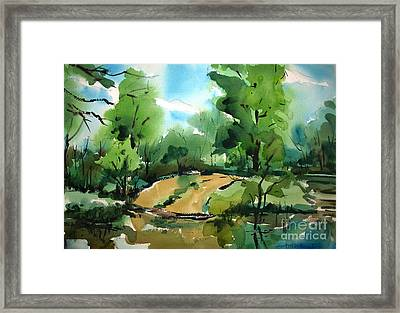 The Public Access Boat Ramp On The Little Mississinewa River Matted Glassed Framed Framed Print by Charlie Spear