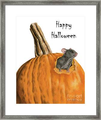The Pumpkin Carver- Happy Halloween Framed Print by Sarah Batalka