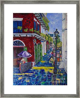 The Purple Umbrella        Pirates Alley Framed Print