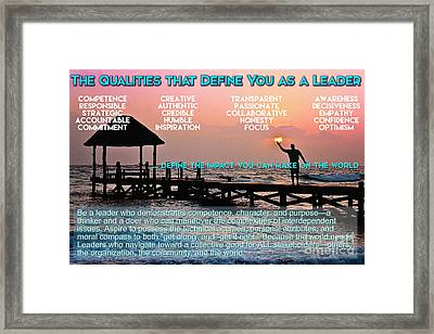 The Qualities That Define You As A Leader  Framed Print by Celestial Images