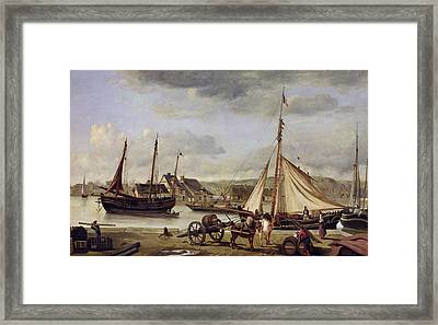 The Quay At Rouen Framed Print by Jean Baptiste Camille Corot