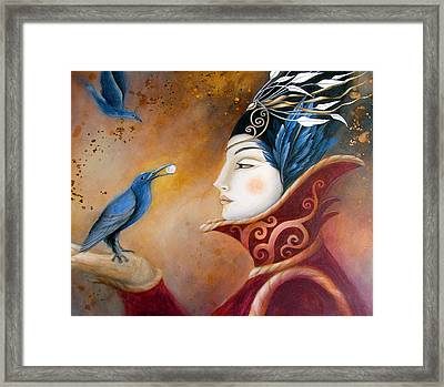 The Queen And Blue Crow Framed Print by Amanda Clark