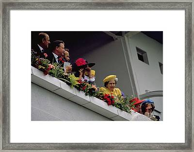 The Queen At Derby Day 1988 Framed Print