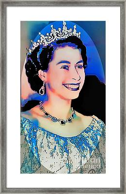 The Queen -  Pop Art Portrait Framed Print by Ian Gledhill