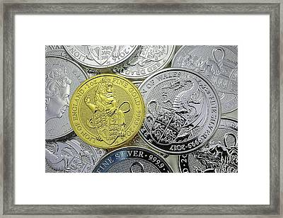 Framed Print featuring the photograph The Queens Beast Gold And Silver Coins by JC Findley