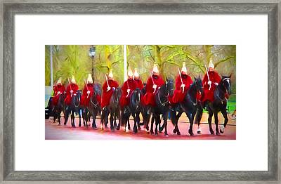 The Queens Life Guards On The Mall Framed Print by Sharon Lisa Clarke