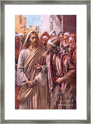 The Question Of The Sadducees Framed Print by Harold Copping