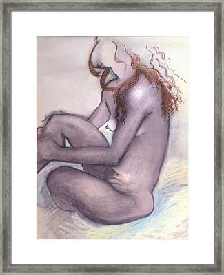 Framed Print featuring the drawing The Quiet Girl - Female Nude by Carolyn Weltman