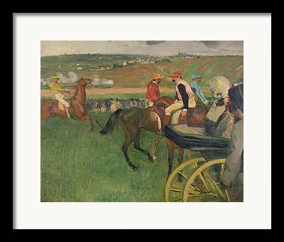 The Race Course - Amateur Jockeys Near A Carriage Framed Prints