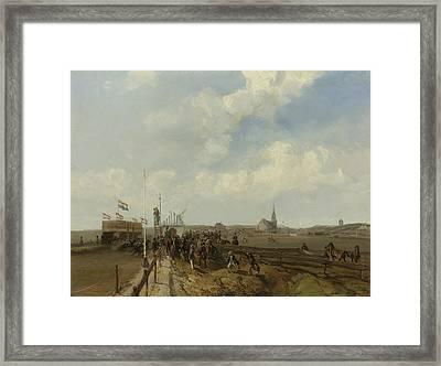 The Race Track At Scheveningen Framed Print by Charles Rochussen