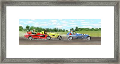Framed Print featuring the digital art The Racers by Gary Giacomelli