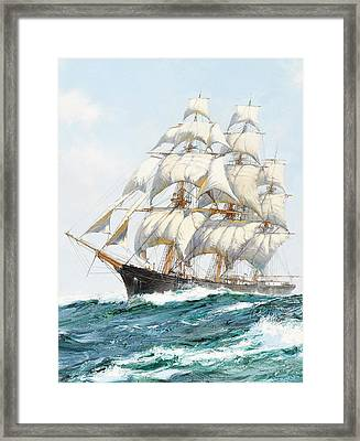 The Racing Sky - Detail Framed Print by Montague Dawson