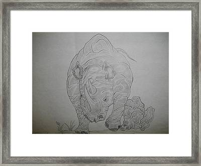 The Raging Rhino Framed Print by Nicole Lee