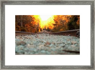 Framed Print featuring the digital art The Railroad Tracks From A New Perspective by Chris Flees