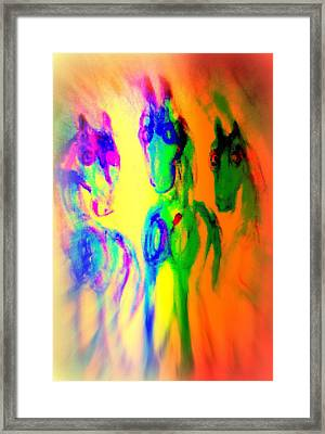 The Rainbow Horses Are Coming Closer And You Don't Know What To Say  Framed Print by Hilde Widerberg